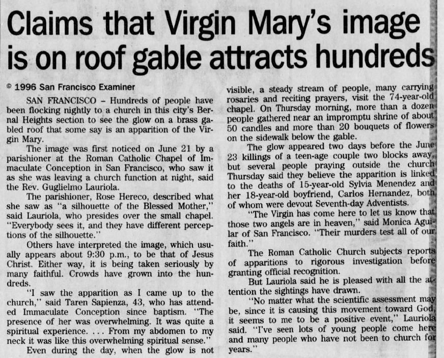 July 6, 1996: The Virgin on a roof gable