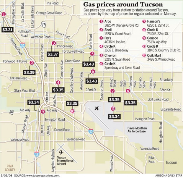 Map: Gas prices around Tucson | Local news | tucson.com Gas Prices Map on gun control map, gasoline price map, jobs map, gas price increase reasons, world news map, diesel prices map, google map, crime map, travel map, gas price change, china map, maps map, california map, gas tank parts, rent prices map, cheapest gas map, birthrate map, gas production map, gas distribution map, gas price forecast,