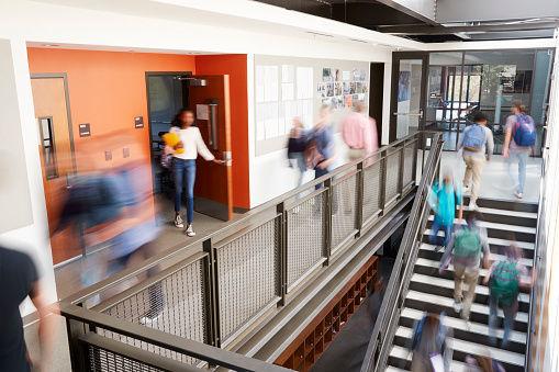 Busy High School Corridor