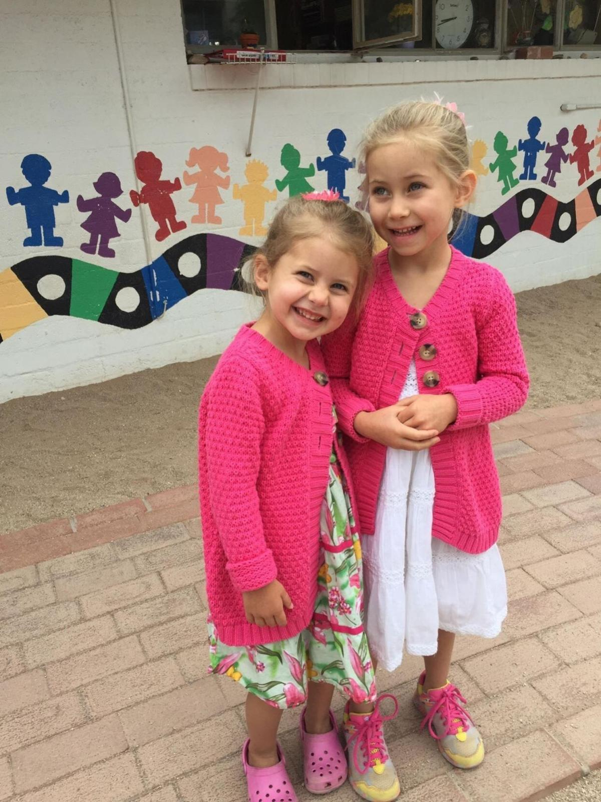 Elira and Sophia Novak outside of St. Mark's Preschool and Kindergarten