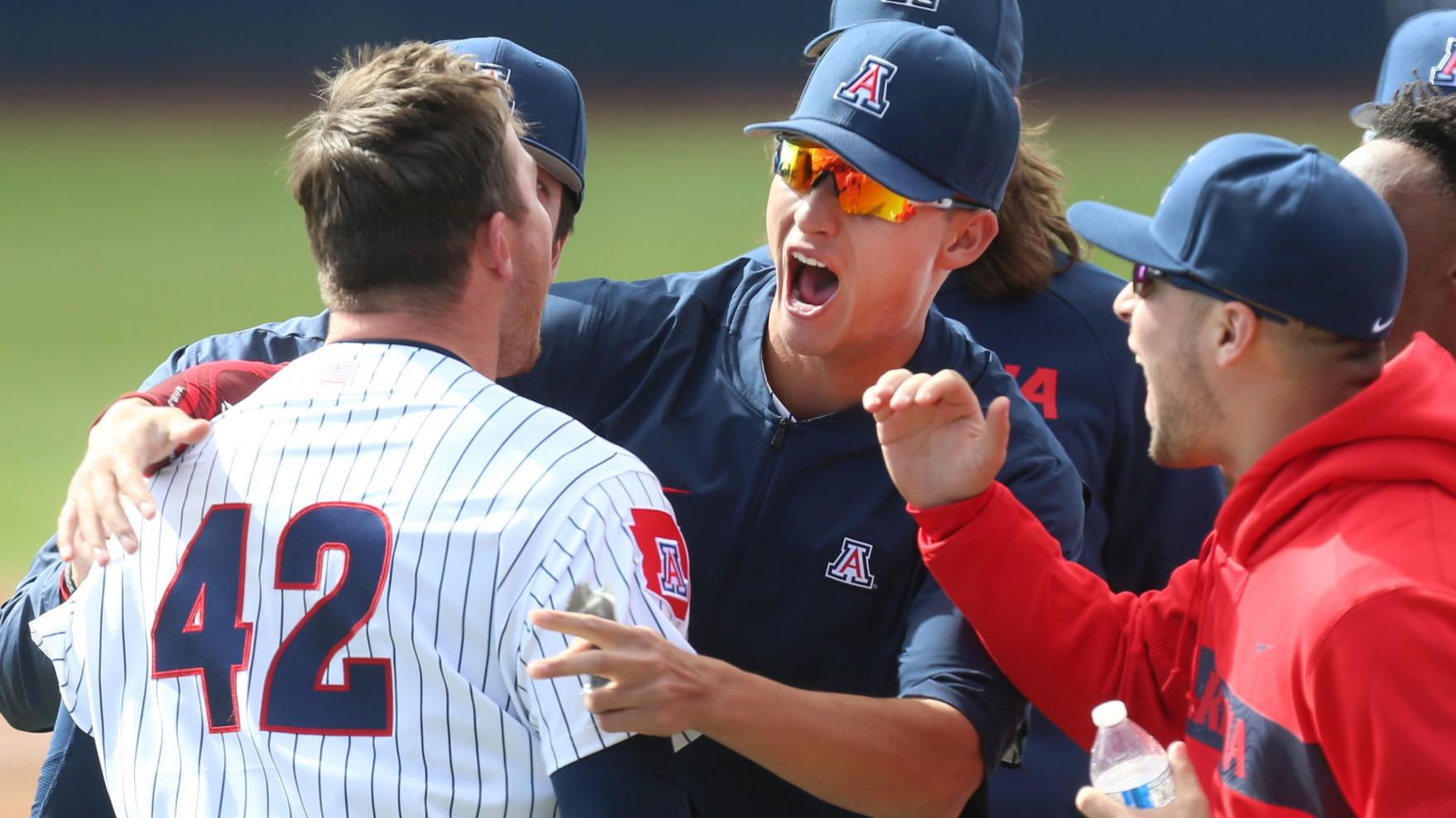 Arizona Wildcats' Matt Fraizer takes off after altering his swing plane