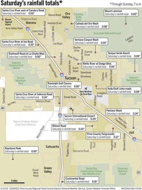 Map: Saturday's rainfall totals around Tucson