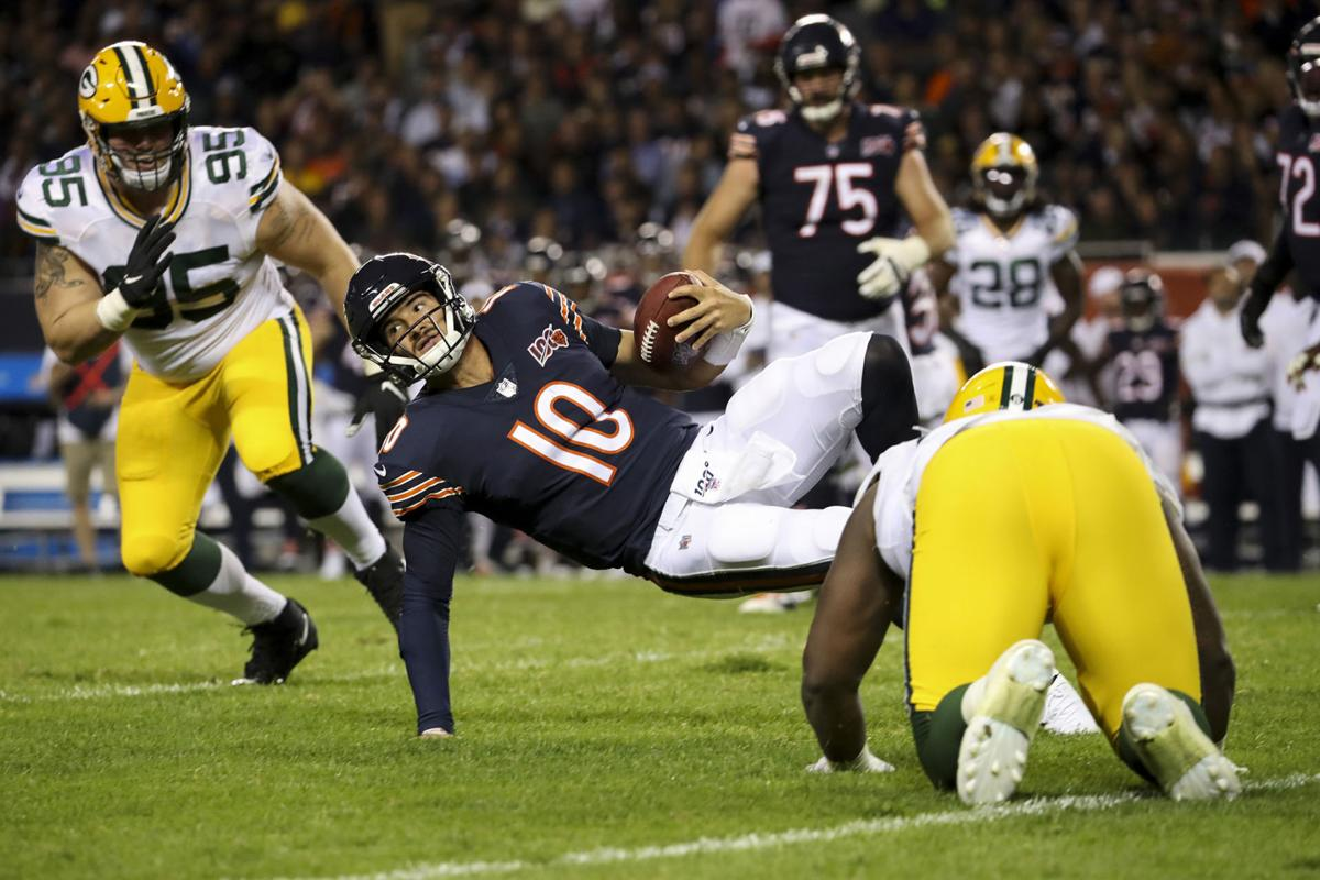 Chicago Bears quarterback Mitch Trubisky (10) is sacked on third down during the second half against the Green Bay Packers at Soldier Field in Chicago on Thursday, Sept. 5, 2019. The Packers won, 10-3.