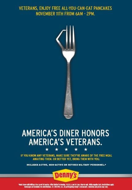 Free pancakes for vets at Denny's