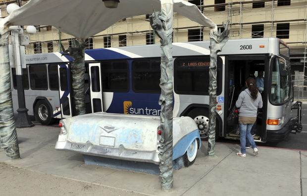 Tucson Oddity: Classic '56 Chevy bus bench adds pizazz to Sun Tran trips