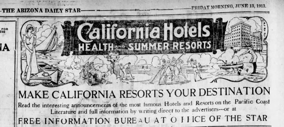 1913 California resorts ad