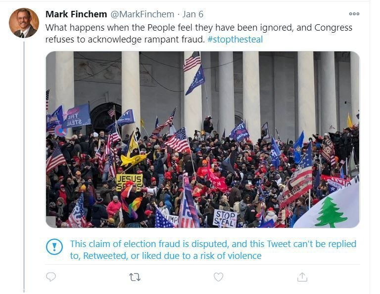 Finchem tweets from U.S. Capitol
