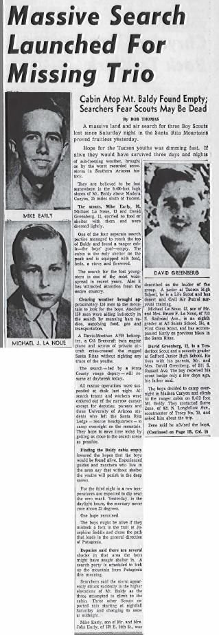 Massive search launched for missing trio (Nov. 18, 1958)
