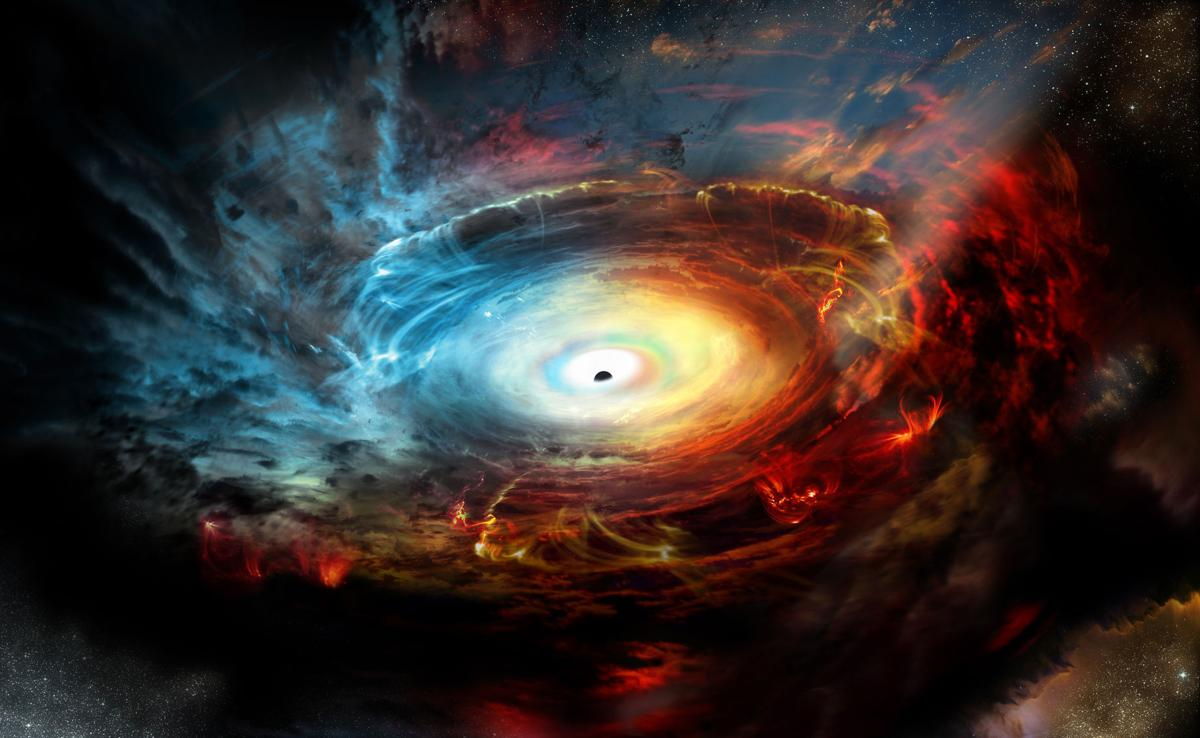 The glowing disk of the event horizon