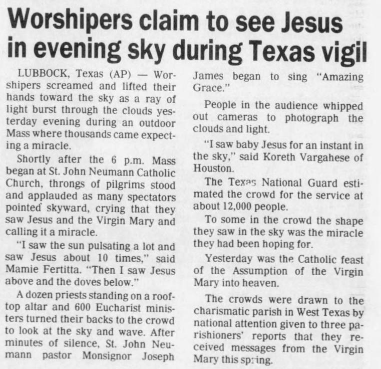 Aug. 16, 1988: Jesus in the sky