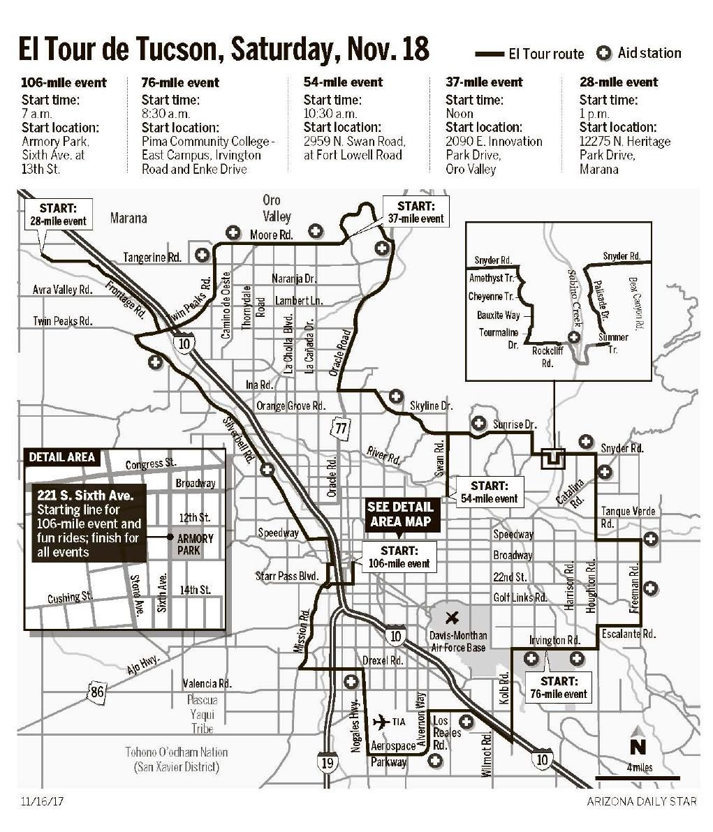 El Tour de Tucson route map Local news tucsoncom