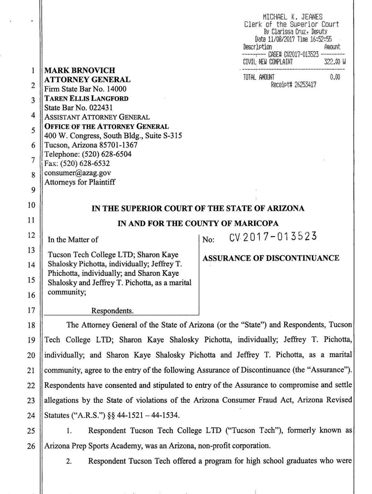 Settlement Agreement Tucson Tech Tucson
