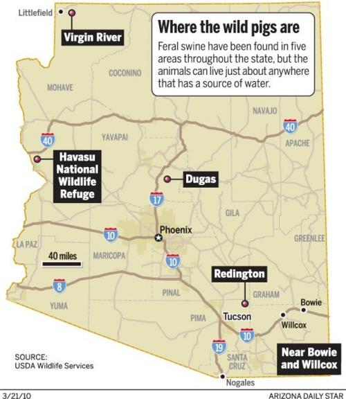 Map Of Arizona Hunting Units.Only Lack Of Water Keeps Wild Pigs From Being State Menace