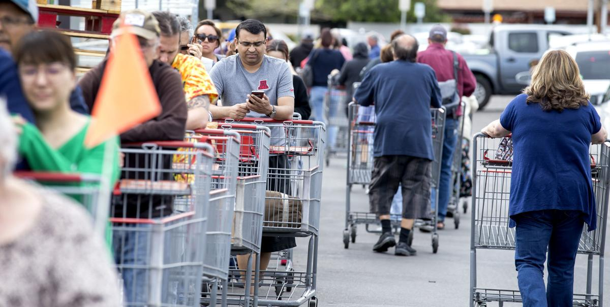 Lines for grocery, supplies