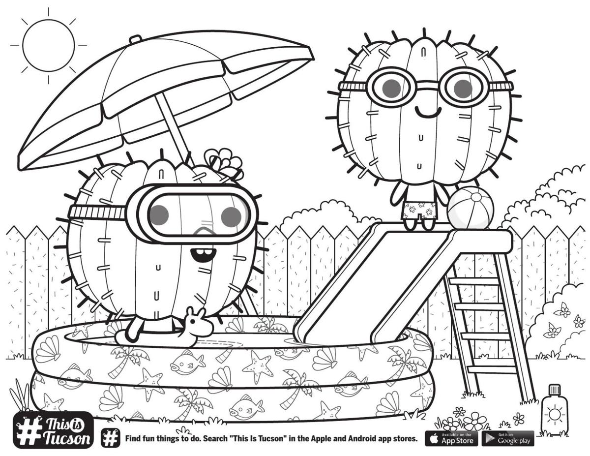 Swimming cactus coloring page