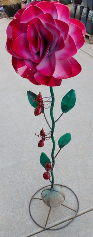 lawn art rose with ants.JPG
