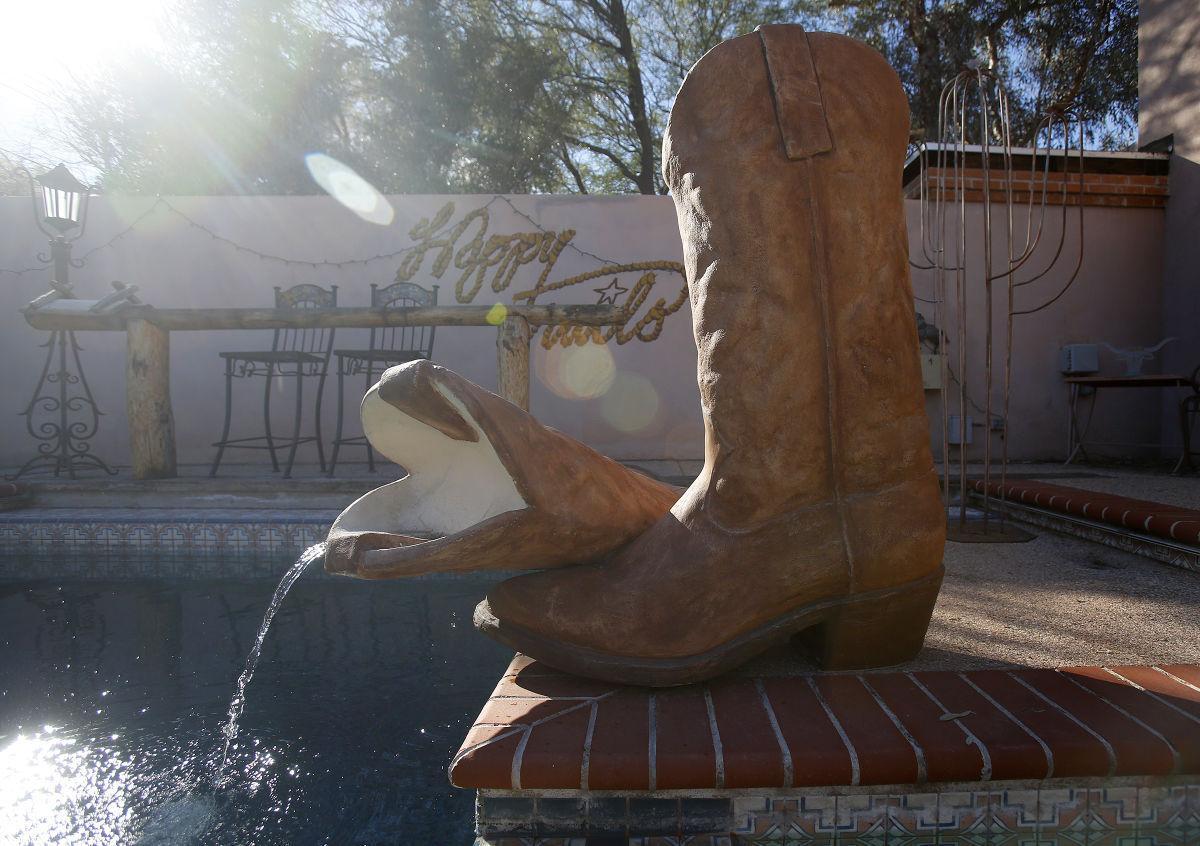 Cowboy boot fountain
