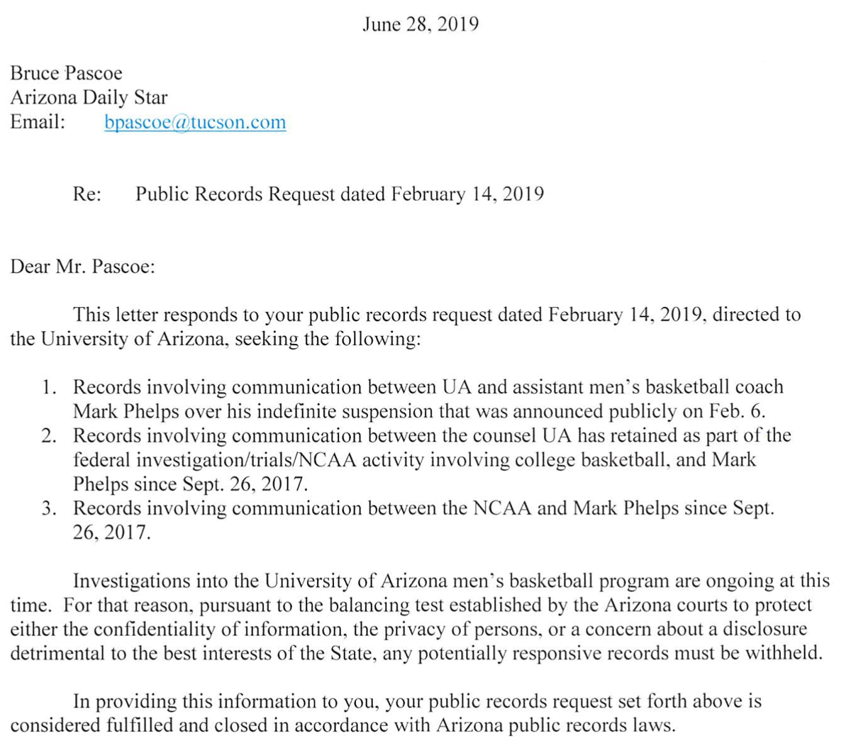 UA response to Mark Phelps public-records request