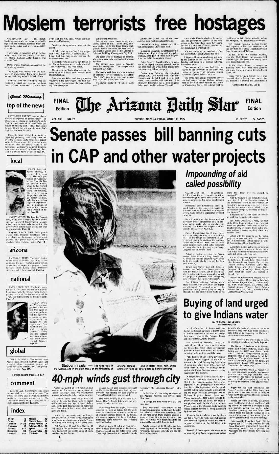 Arizona Daily Star front page March 11, 1977 | | tucson com