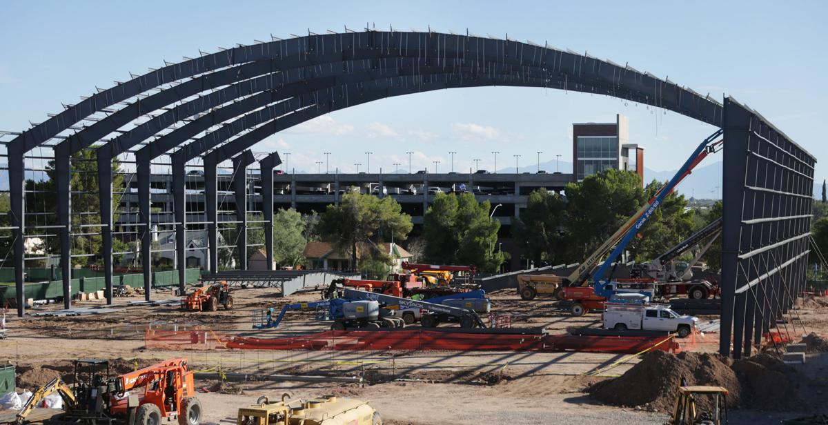 Construction on the UA indoor practice facility