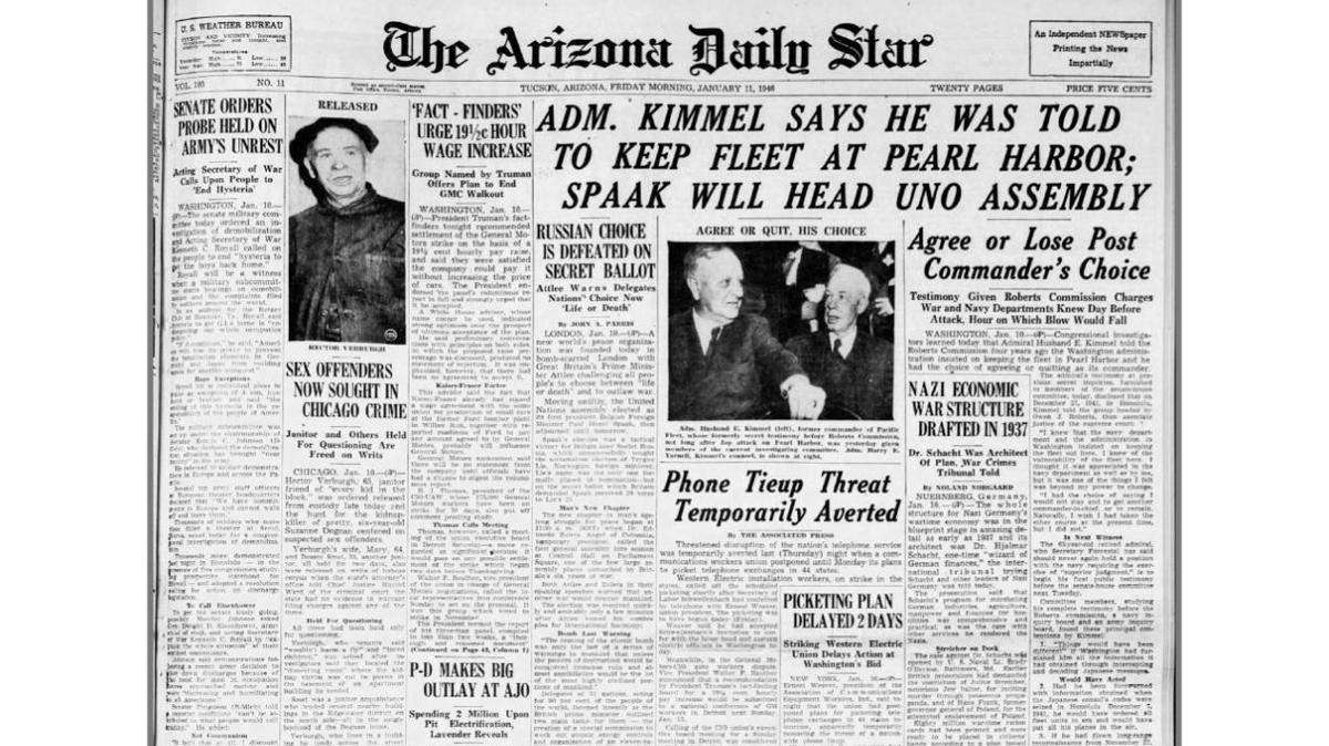 Arizona Daily Star front page Jan. 11, 1946