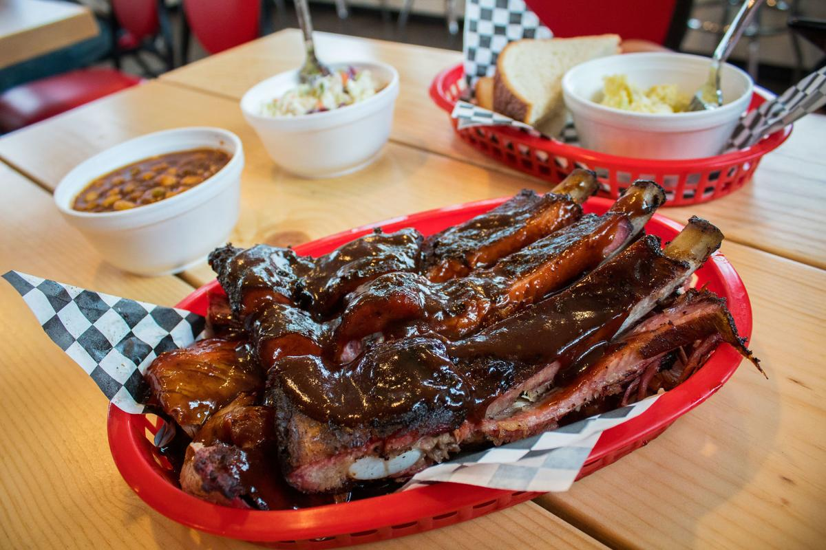 Combo Plate 3 At Smokey Mo Barbecue Comes With Mesquite Smoked Ribs Two Barbecued And A Side For 18 We Upgraded Beans Coleslaw Potato
