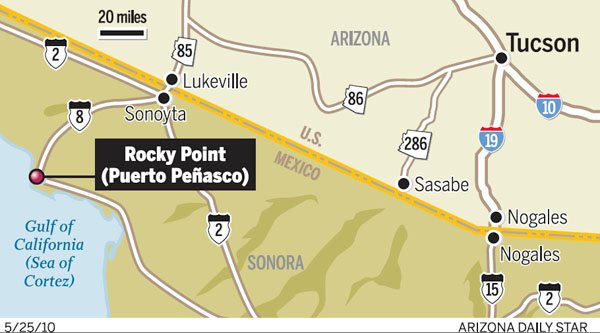 Map Of Arizona To Mexico.U S Now Includes Rocky Point In Mexico Travel Warning Border