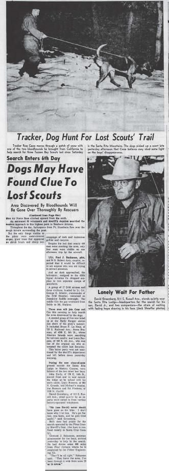 Bloodhounds find scent that may lead to trio (Nov. 21, 1958 continuation)
