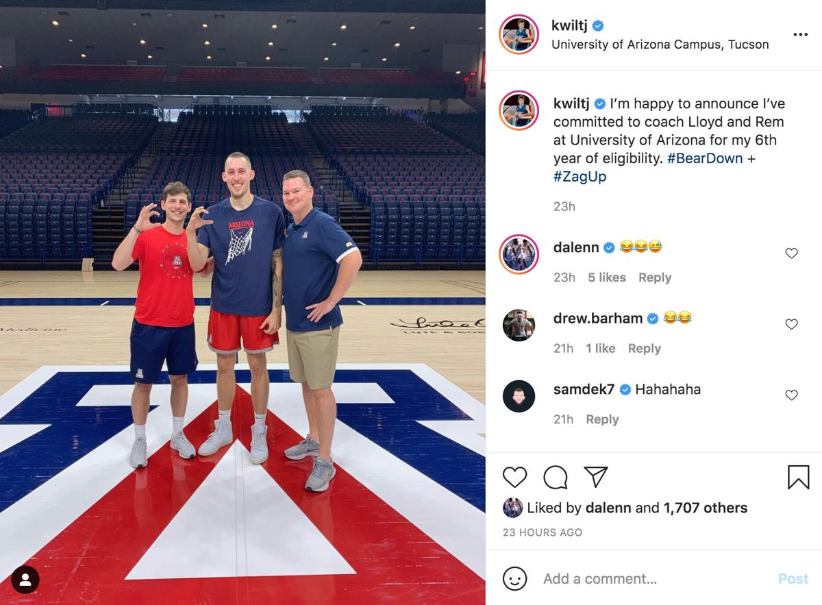 Kyle Wiltjer Instagram post from McKale Center