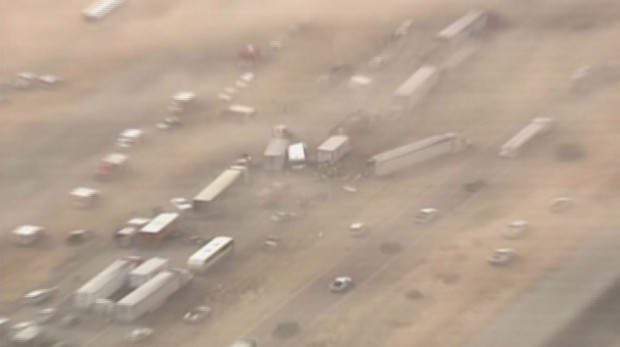 Aerial of I-10 wreck