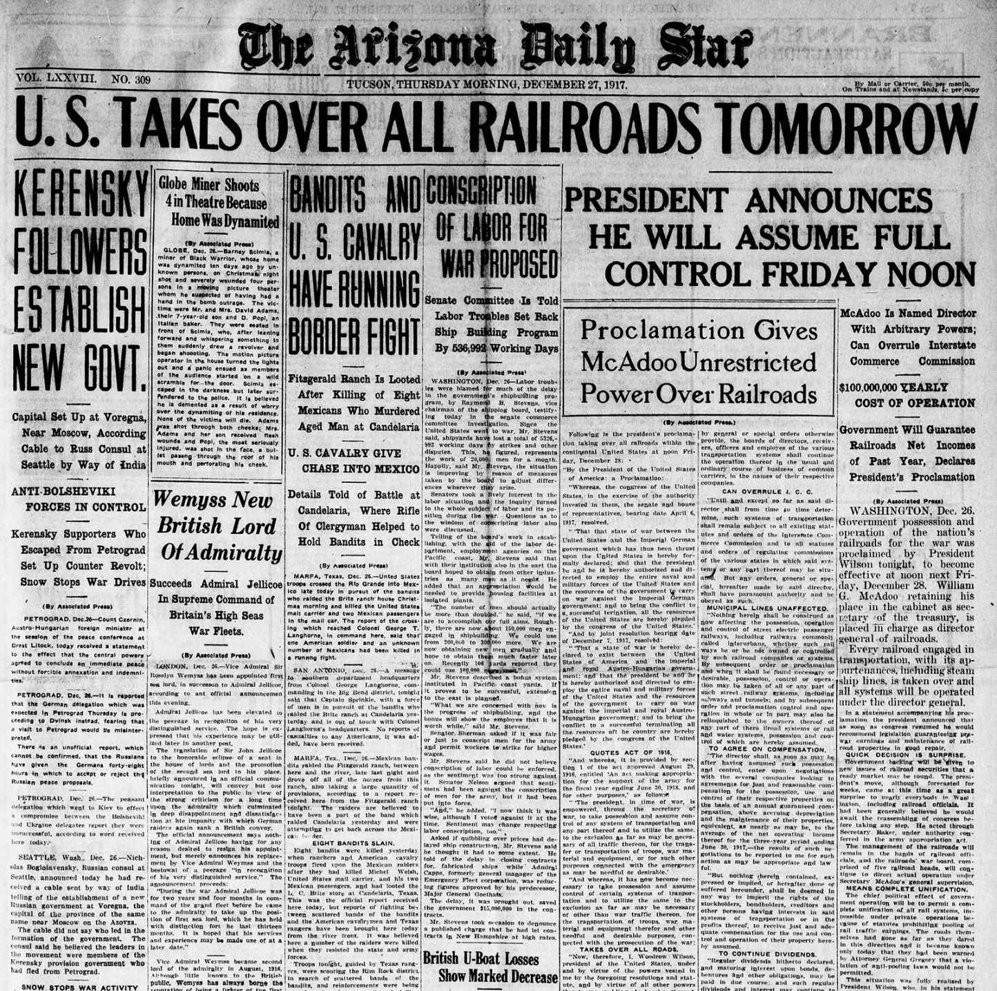 Dec 27 Arizona Daily Star front pages President Truman has d