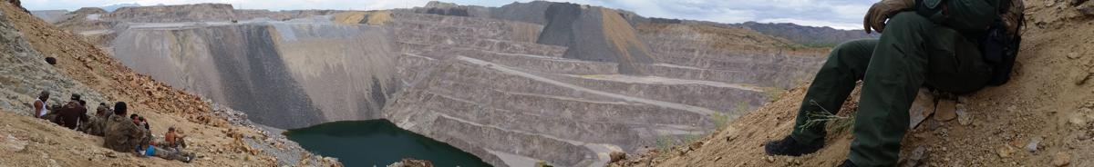 Illegal immigrants in open pit mine