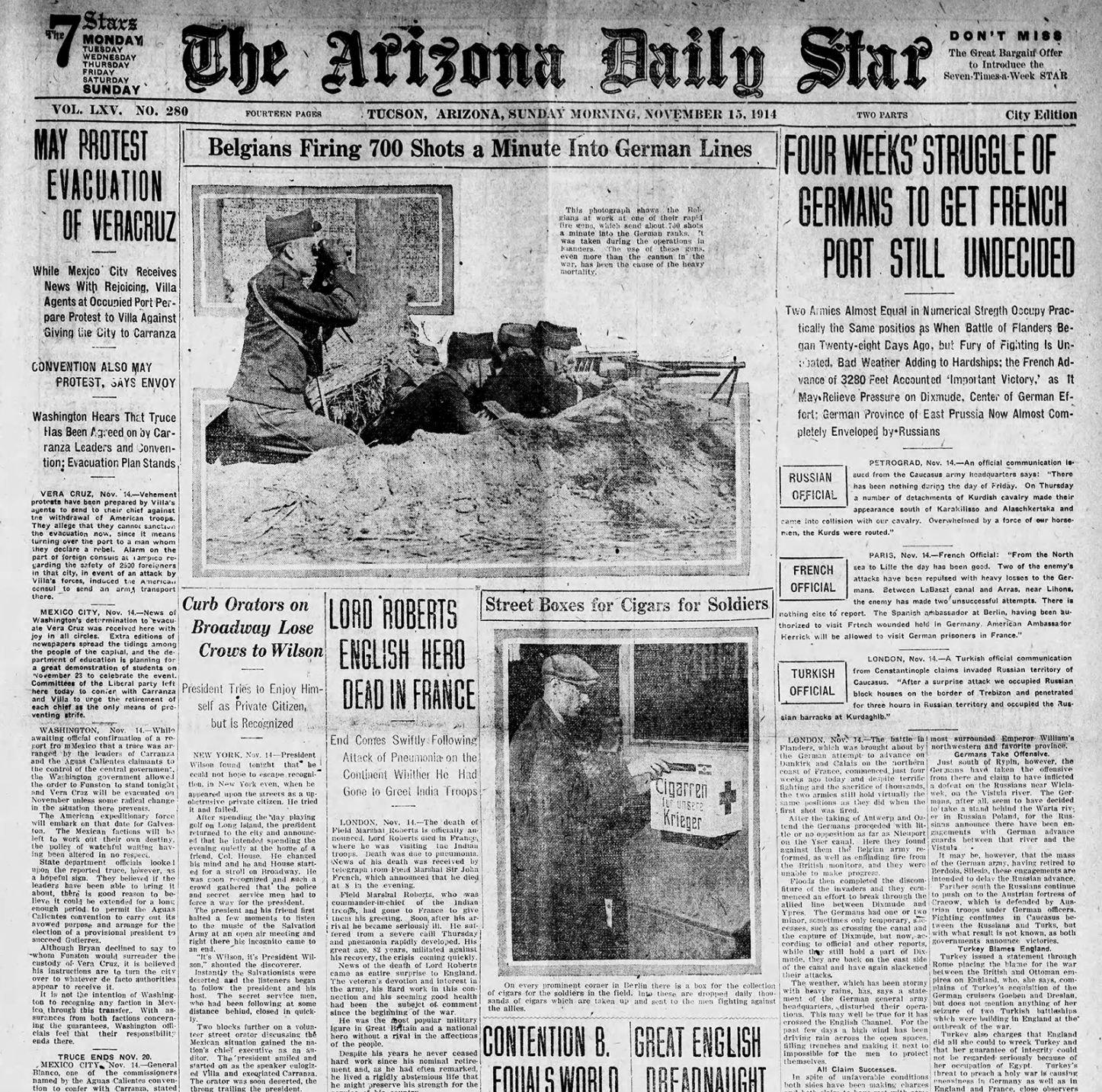 Nov  15 Arizona Daily Star front pages: Apollo 12 takes off