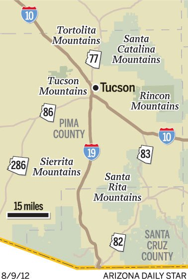 image regarding Printable Map of Tucson Az known as Map: Mountain levels in close proximity to Tucson