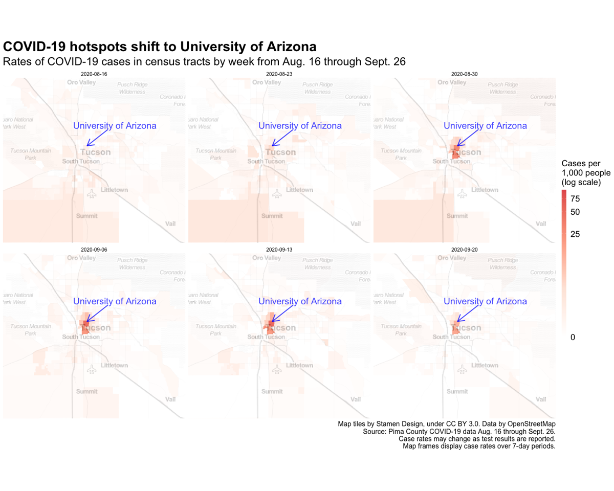 Map: Weekly COVID-19 hotspots in Tucson Aug. 16 through Sept. 26
