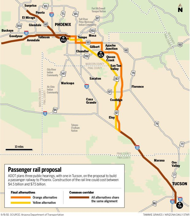 Study proposes routes for Tucson-Phoenix rail line | Arizona and ...