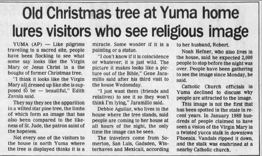 Oct. 26, 1990: Virgin or Jesus in old Christmas tree