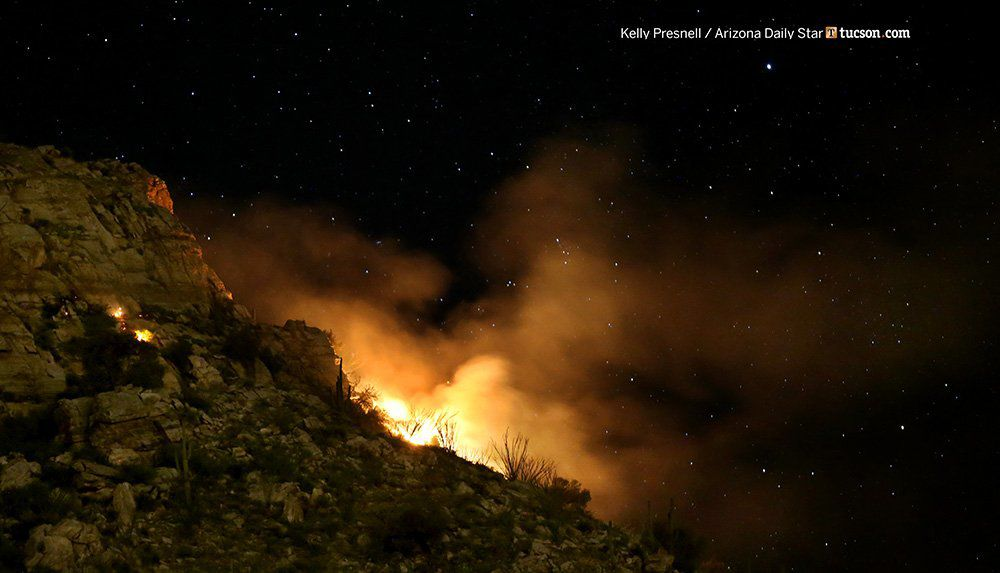 Wildfire burning on the Santa Catalina Mountains