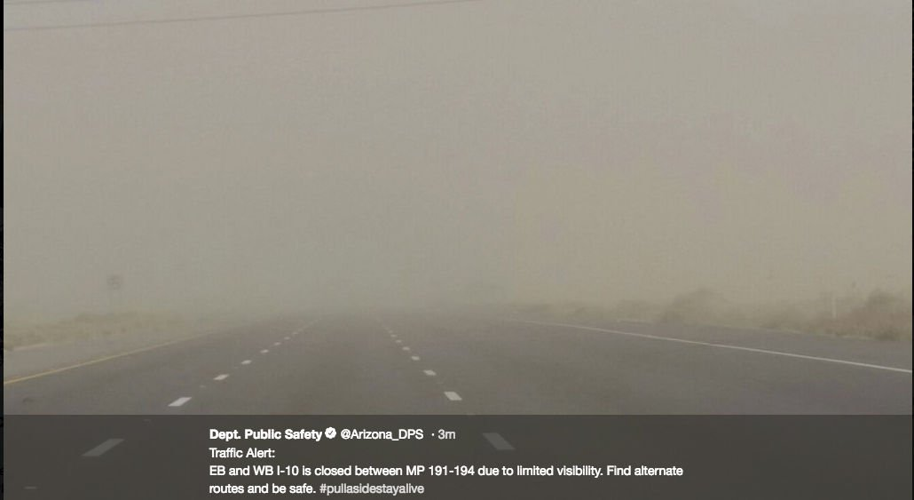 Blowing dust closes portion of Interstate 10 north of Tucson