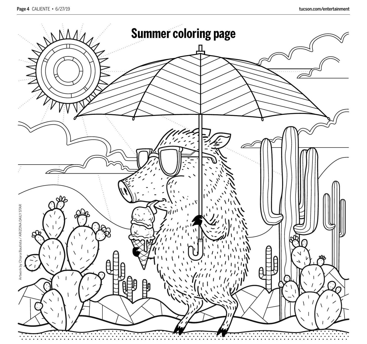 Print out these 12 totally adorable Tucson-themed coloring