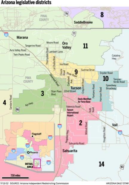 Legislative districts in the Tucson metro area