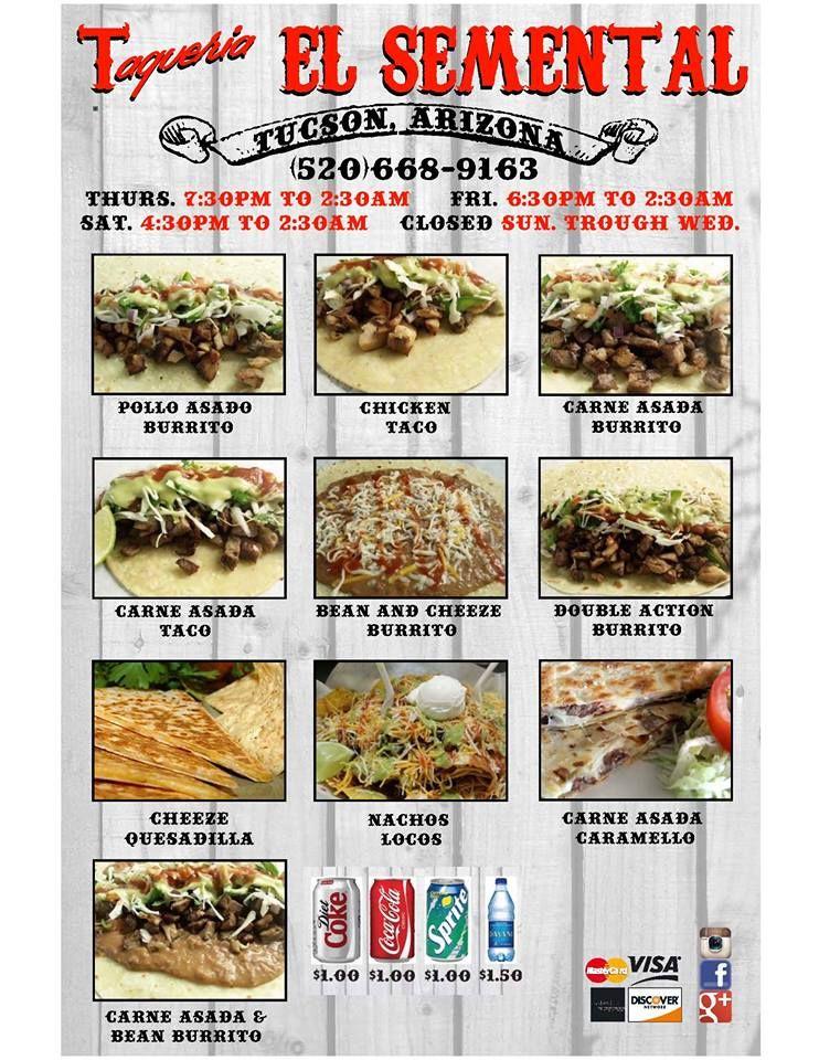 El Semental menu