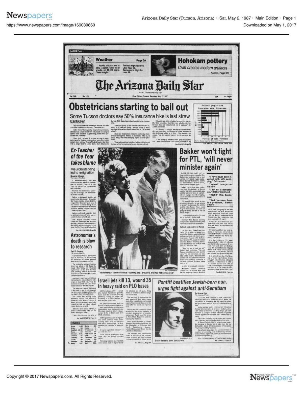 Arizona Daily Star front page May 2, 1987 pdf | | tucson com