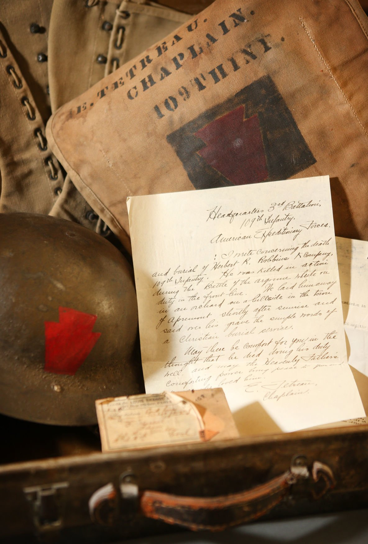 Elzer Desjardins Tetreau's World War I memorabilia
