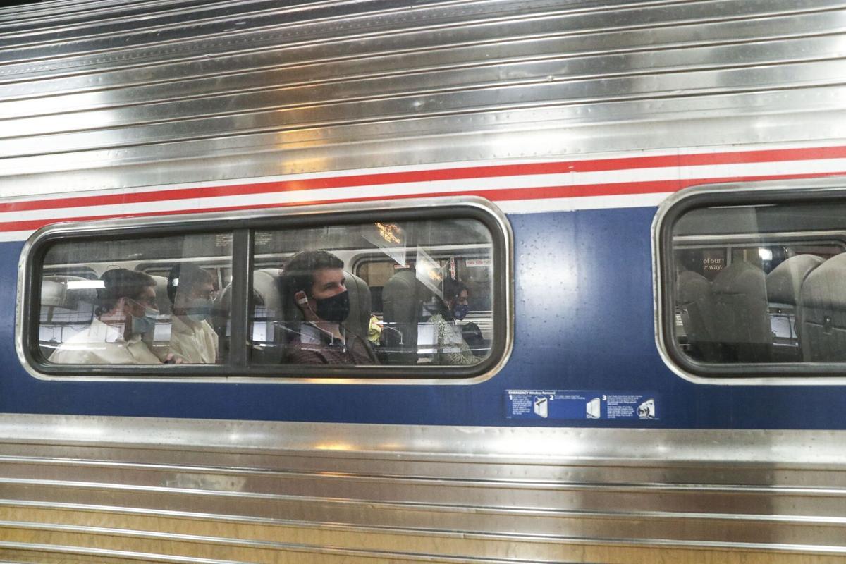 An Amtrak Northeast Regional train at Philadelphia's 30th Street Station.