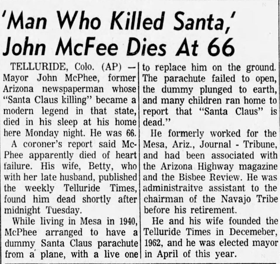 'Man who killed Santa,' John McFee dies at 66