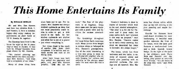 Tucson Citizen article Aug. 20, 1960