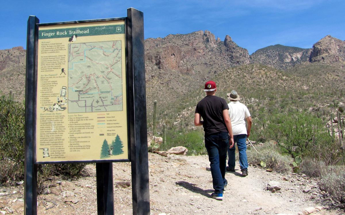 Hikers start up trail