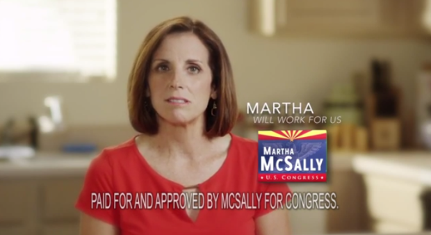 """Screen shot of McSally's """"Working for Us"""" ad"""