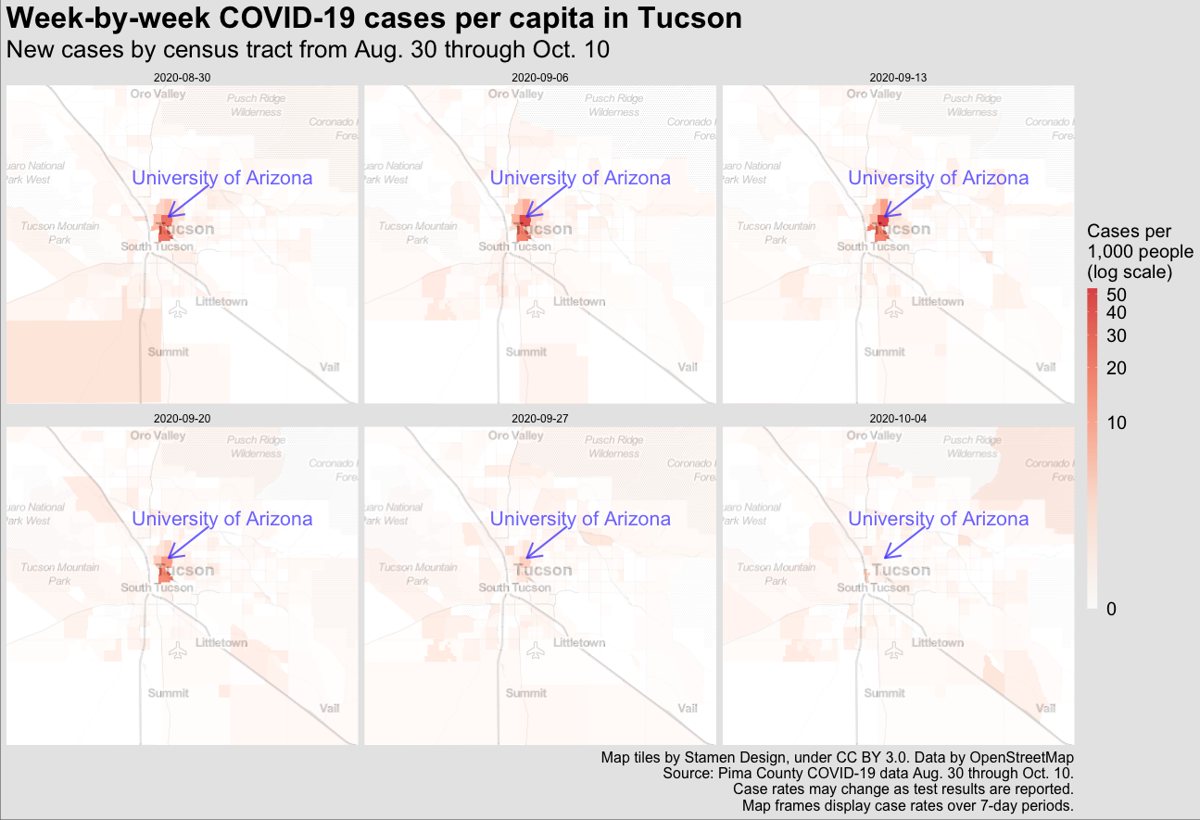 Week-by-week COVID-19 cases in Tucson: Aug. 30 through Oct. 10